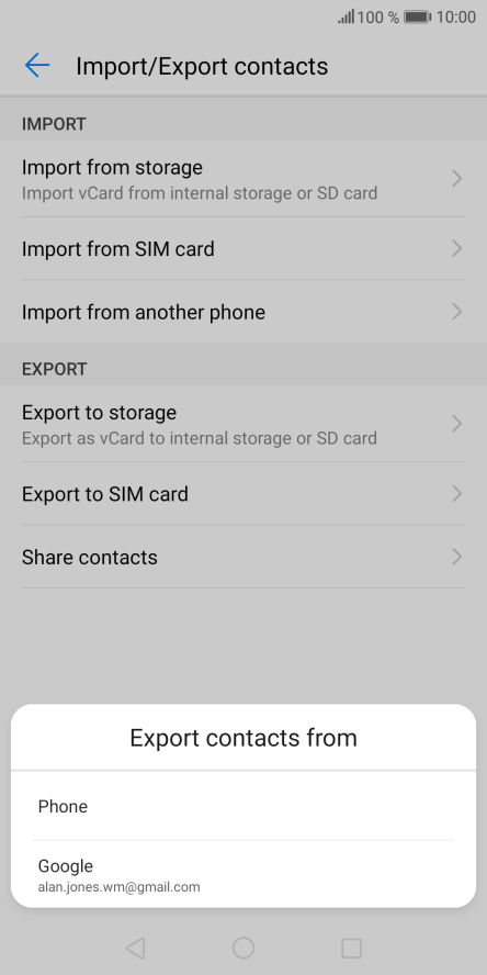 Copy contacts between SIM and mobile phone - Huawei Mate 10