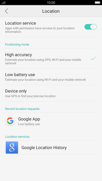 Turn GPS on or off - OPPO F1s - Optus