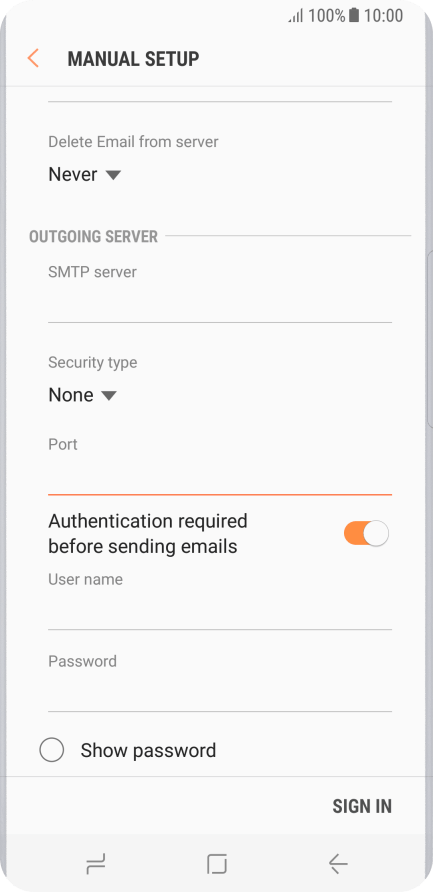 Set up your mobile phone for POP3 email - Samsung Galaxy S8