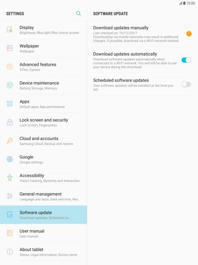 Update software - Samsung Galaxy Tab S3 - Optus
