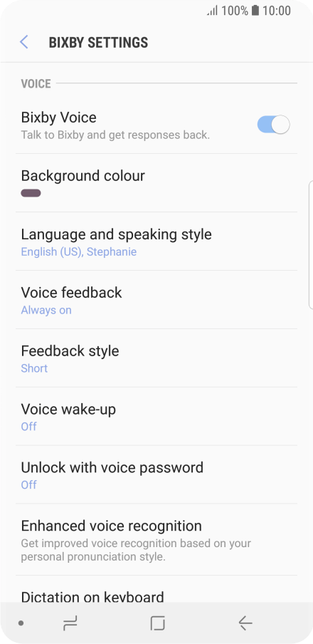 Choose settings for voice dialing - Samsung Galaxy S9 - Optus