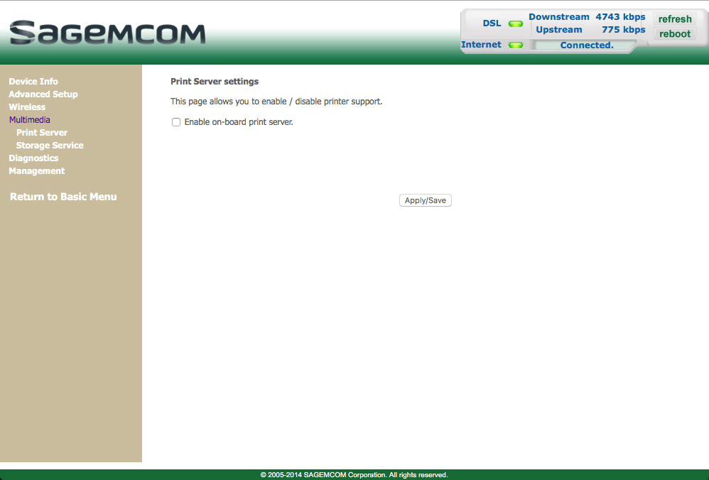 Guide to the modem settings menu - Sagemcom Gateway F@ST 3864 - Optus