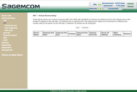 Set up port forwarding - Sagemcom Gateway F@ST 3864 - Optus