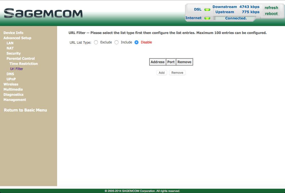 Block websites - Sagemcom Gateway F@ST 3864 - Optus