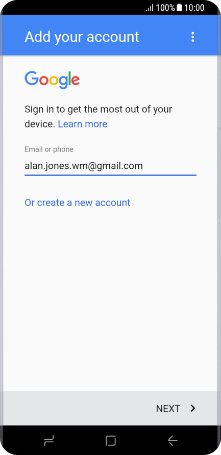 Activate Google account on mobile phone - Samsung Galaxy S8