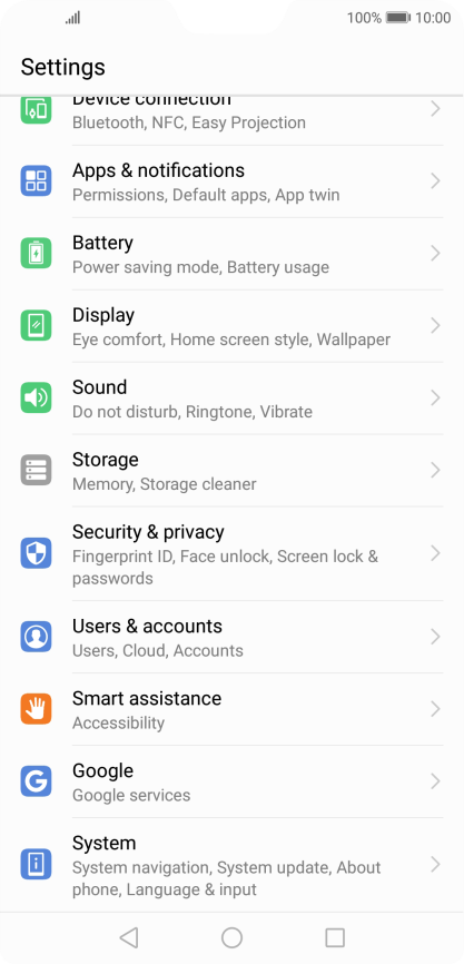 Huawei P20 Pro - Turn automatic synchronisation of content