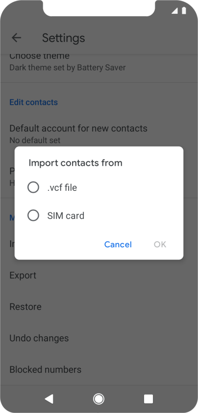 Vodafone Smart N10 - Copy contacts between your SIM and your