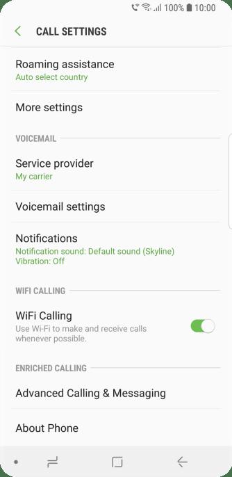 Samsung Galaxy S9 - Turn Wi-Fi calling on or off   Vodafone Australia