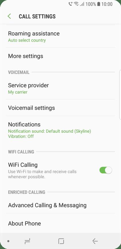 Samsung Galaxy S9 - Turn Wi-Fi calling on or off | Vodafone Australia