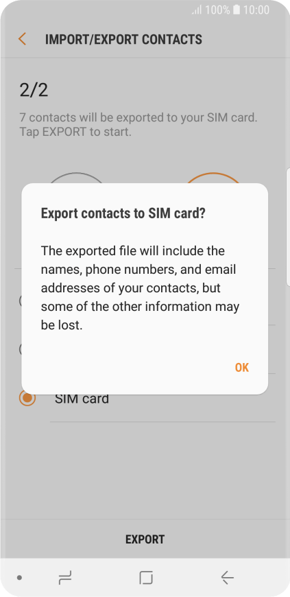 Samsung Galaxy S9 - Copy contacts between your SIM and your phone