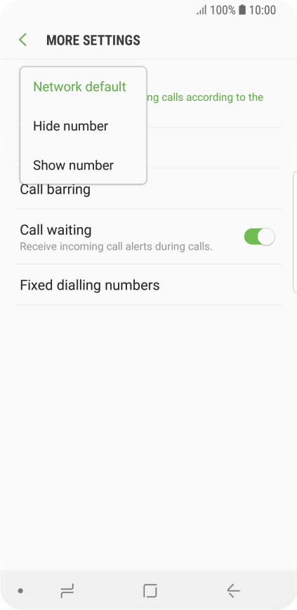 Samsung Galaxy S9 - Turn your own caller identification on