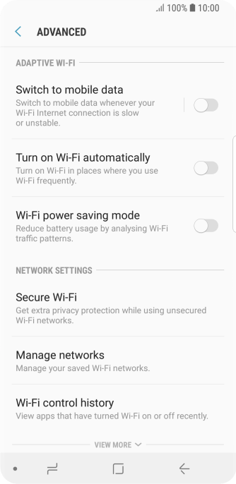 Samsung Galaxy S9 - Turn automatic use of mobile data on or